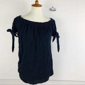 Black Short Tie Sleeve Stretch Loose Fit Top D1286